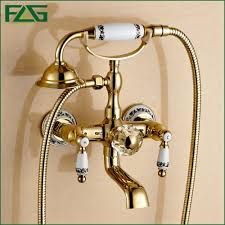 golden bathroom shower column faucet wall: flg free shipping bathroom bath wall mounted ceramic handle held gold plated brass shower head kit