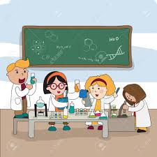 cartoon children are studying and working in the laboratory create by vector stock vector 40228710