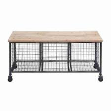 industrial finish storage bench with 3 wire baskets