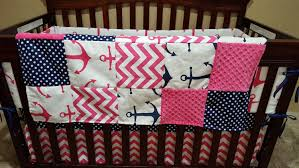 nautical girl crib bedding pink anchors navy dot pink chevron and navy anchor nautical nursery set