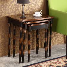 retro hand painted side table set coffee table antique wooden furniture living room furniture 3 set 3 piece