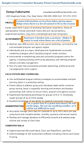 Sample Career Counselor Resume Page 1