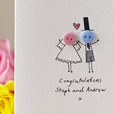 Personalised Button Wedding Hand Illustrated Card