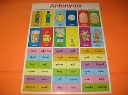 Antonyms Opposites Classroom Educational Poster Teaching