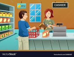 Cashier Working In The Grocery Store