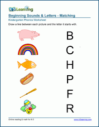Phonics worksheets and online activities. Match The Beginning Sound Worksheets K5 Learning