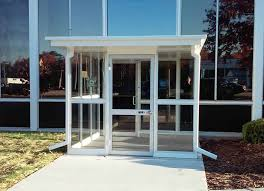 a glass entry vestibule