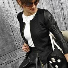 punk style women leather jacket 2018 women basic coat jackets autumn black zipper crop jacket coat crop tops daily outfit womens winter jackets summer