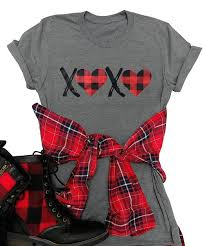 Xoxo Size Chart Xoxo Plaid Heart Print Graphic T Shirts Womens Valentines Day Short Sleeve Tees Tops For Gift Wife