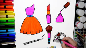 draw and color barbie dress makeup kit nail paint lipstick eye shadow eye liner brush coloring