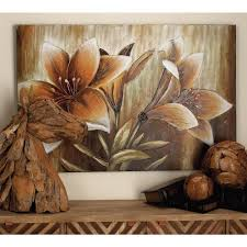 sepia brown and white lilies on beige background on sepia canvas wall art with 32 in x 47 in sepia brown and white lilies on beige background