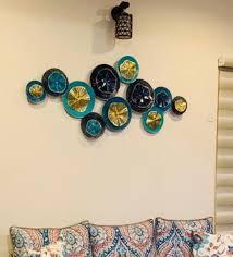 beautiful aqua circle metal wall