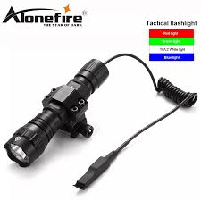 Blue Light Hunting Us 8 61 12 Off Alonefire 501bs Tactics Flashlight White Green Red Blue Light Color Led Tactical Hunting Flashlight Torch With Switch Rifle In Led