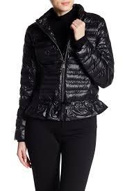 image of bcbg ruffle hem packable jacket
