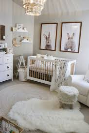 baby bedroom white sweet animals themed uni nursery baby room idea crystal chandelier rabbits frame pictures