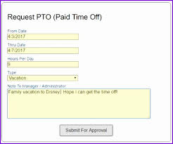 pto request template time off request form employee pto tracking and line time clock