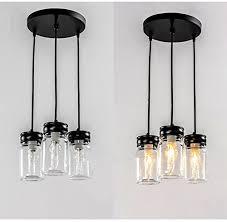 efinehome classic mason jar lighting 3 light black vanity light with clear mason jar glass multi pendant light handmade chandelier lighting