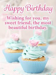 Fancy Cupcakes Happy Birthday Card For Friends Birthday