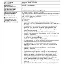 Cocktail Waitress Job Description For Resume Endearing Resume Waitress Responsibilities With For Position 64