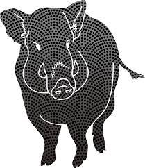 白黒ドット柄のお洒落かっこいいイノシシ2019干支亥年無料イラスト