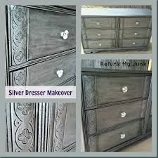Silver paint for furniture Bedroom Silver Dresser Header Refunk My Junk Metallic Silver Dresser before After Refunk My Junk