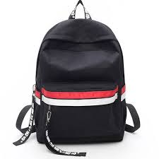 Leisure Two Color Stripes <b>Waterproof</b> Striped Student Bag Canvas ...