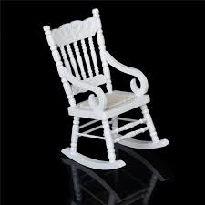 1 12 miniature dollhouse wooden rocking chair model white really cute small doll house furniture miniature toys for dollhouse from paradise13