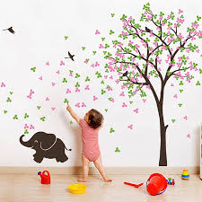 tree with birds and baby elephant sticker
