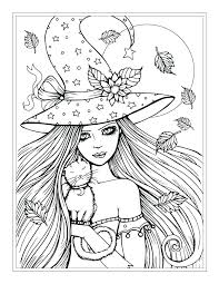 Cat Halloween Coloring Pages Coloring Pages With Cats Free Witch And