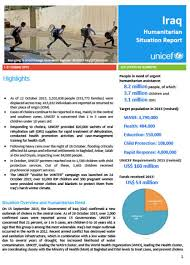 Situation Report United Nations Iraq UNICEF Iraq Humanitarian Situation Report 4