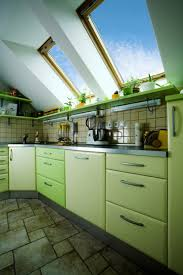 Eco Friendly Green Kitchen With Lovely Window Lighting