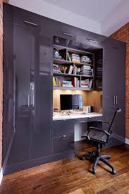 Loft home office Style Desk Armoire Wardrobe Library Custom Cabinets This Home Office Installation Space Solutions Liberty Village Loft Home Office And Bar Space Solutions