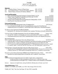 Career Services Sample Resumes For Graduate Students And Postdocs