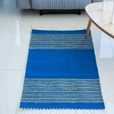 zapotec wool area rug blue borders 2x3 handwoven striped wool