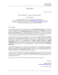 Awesome Collection Of Sample Cover Letter Mechanical Engineering