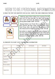 Verb To Be Chart Esl Personal Information B W Worksheet Verb To Be Esl By