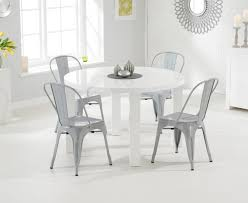 atlanta 120cm white high gloss dining table with tolix industrial style dining chairs