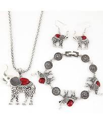 dreamyth women jewelry sets necklace earring bracelet set animal elephant crystal pendant jewelry