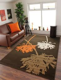 contemporary funky orange brown and beige dandelion living