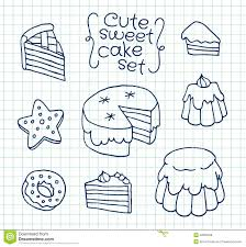 freehand drawing cute cake on sheet of exercise book vector ilration set