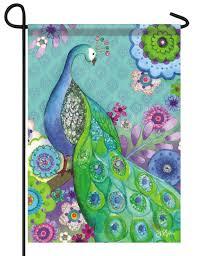 Floral Peacock Glitter Garden Flag - I AmEricas Flags