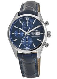 carrera calibre 16 chronograph blue dial leather strap men s watch