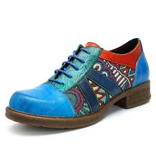 Socofy Size Chart Socofy Retro Casual Jacquard Splicing Lace Up Flat Leather Shoes