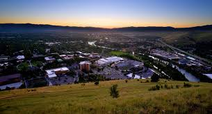 the lights of missoula from the m in the evening