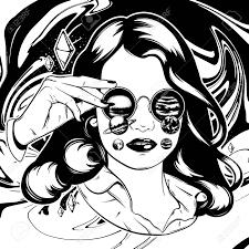 サングラスや惑星でかわいい女の子のベクトルの手描きイラストカードポスターバナーt