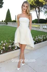 pretty strapless hi lo short organza summer wedding dress