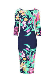 Navy Blue Multi <b>Floral Print 3</b>/<b>4 Sleeve</b> Bodycon Pencil Wiggle Dress