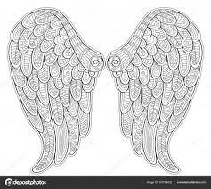 Engel Vleugels In De Stijl Van De Zentangle Voor Tattoo Of T Shirt