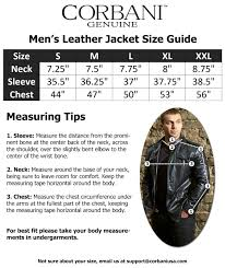 corbani genuine mens size guide