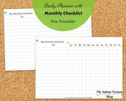 Daily Checklist Planner My Indian Version Day Planner Free Printable Undated Version